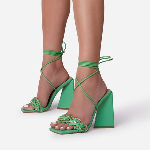 Vanessa Braided Chain Strap Detail Lace Up Square Toe Sculptured Flared Block Heel In Green Faux Leather