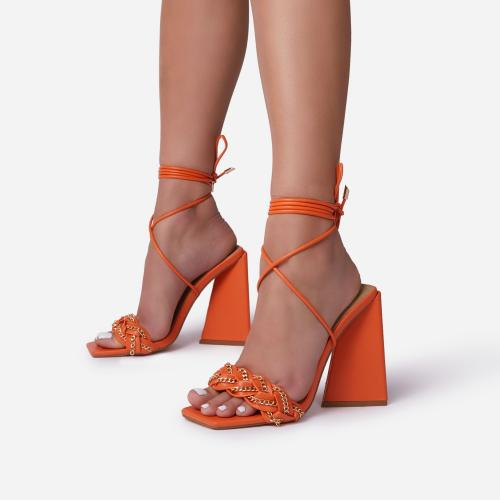 Vanessa Braided Chain Strap Detail Lace Up Square Toe Sculptured Flared Block Heel In Orange Faux Leather