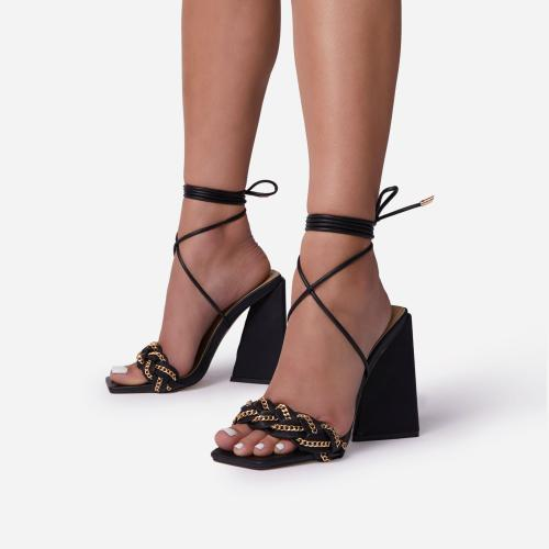 Vanessa Braided Chain Strap Detail Lace Up Square Toe Sculptured Flared Block Heel In Black Faux Leather
