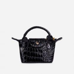 Swift Chain Strap Popper Detail Mini Bag In Black Croc Print Patent