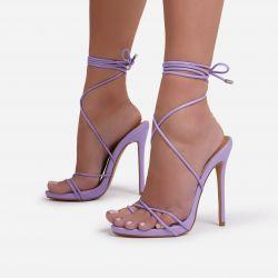 Gelato Lace Up Platform Heel In Purple Faux Leather