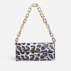 Rosa Chain Strap Baguette Shoulder Bag In Black Leopard Print Faux Leather