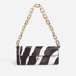 Rosa Chain Strap Baguette Shoulder Bag In Zebra Print Faux Leather