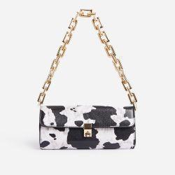 Rosa Chain Strap Baguette Shoulder Bag In Cow Print Faux Leather