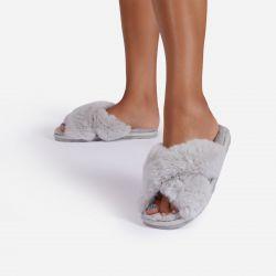 Indulge Fluffy Cross Over Slipper In Grey Faux Fur