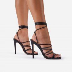 Donatella Strappy Lace Up Square Toe Heel In Black Satin