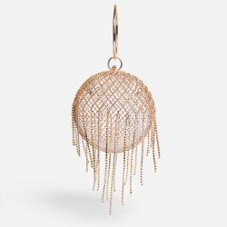 Nightlife Tassel Detail Cadged Sphere Bag In Gold Diamante