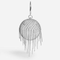 Nightlife Tassel Detail Cadged Sphere Bag In Silver Diamante