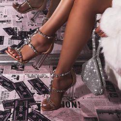 Merryme Jewel Embellished Clear Perspex Block Heel In Nude Patent