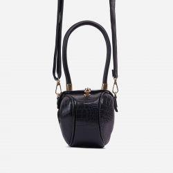 Baller Shaped Grab Bag In Black Croc Print Faux Leather