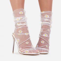Daisy Print Socks In White Mesh