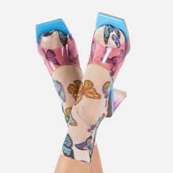 Blue Butterfly Mesh Socks