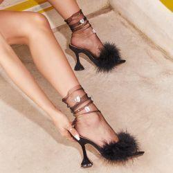 Gem Detail Socks In Black Mesh