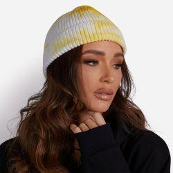 Fisherman Beanie Hat In Yellow Tie Dye Knit