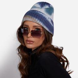 Beanie Hat In Blue Tie Dye Knit