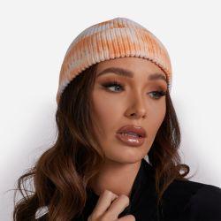 Fisherman Beanie Hat In Orange Tie Dye Knit