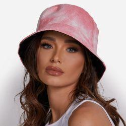 Bucket Hat In Pink Tie Dye Cord
