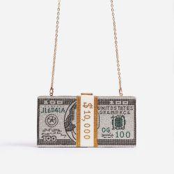 Boujee Premium Crystal Dollar Bill Cross Body Bag In Silver