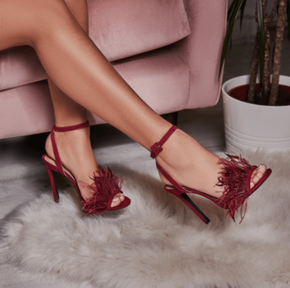Dalla Oversized Feather Barely There Heel In Maroon Faux Suede