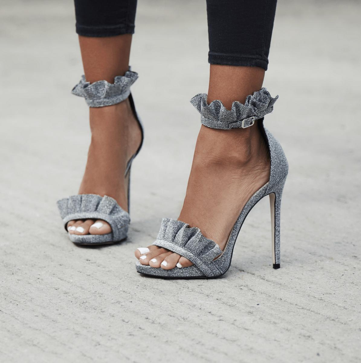 Ebony Frill Detail Heel