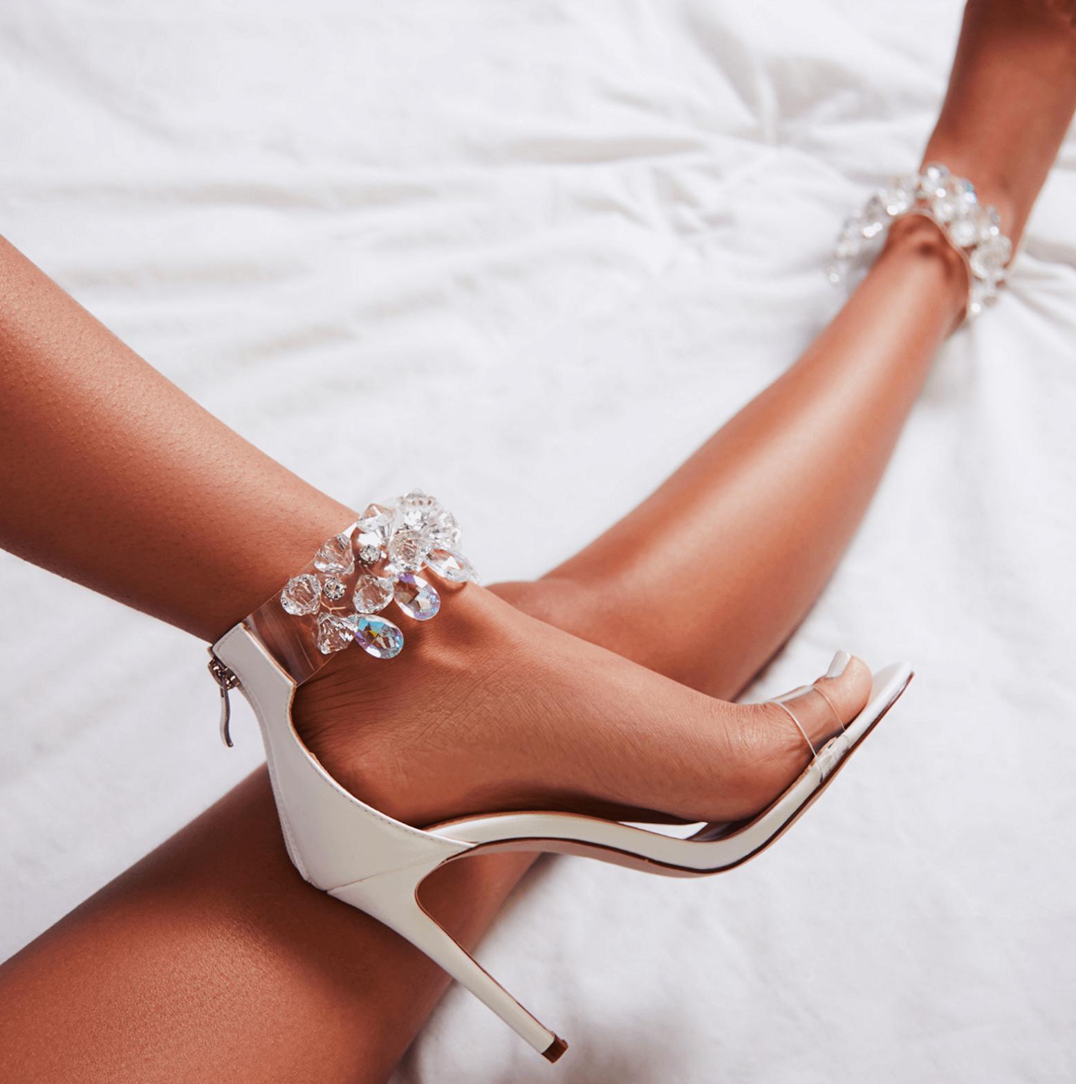Jewel Embellished Perspex Heel