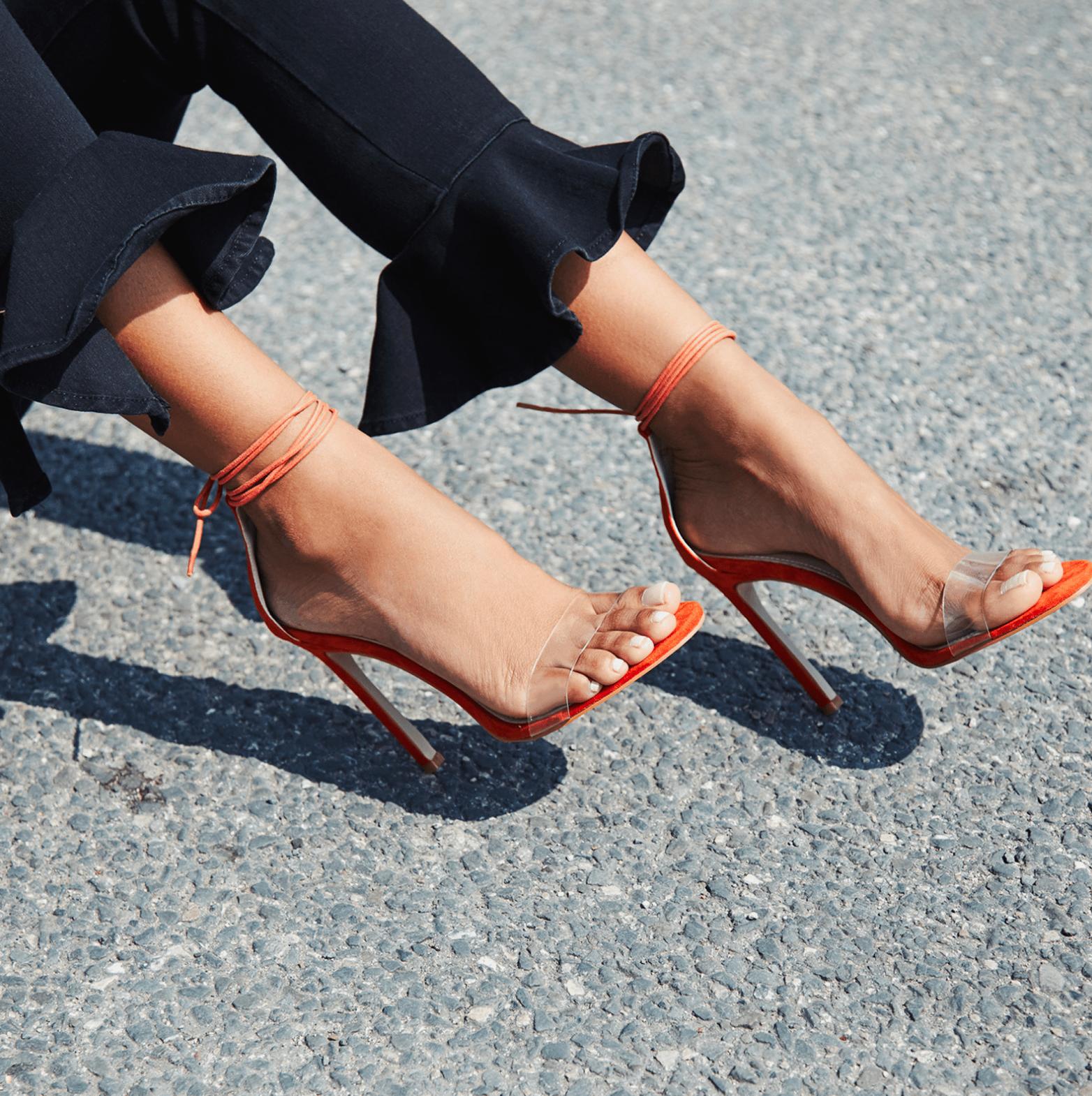 Perrie Lace Up Perspex Heel