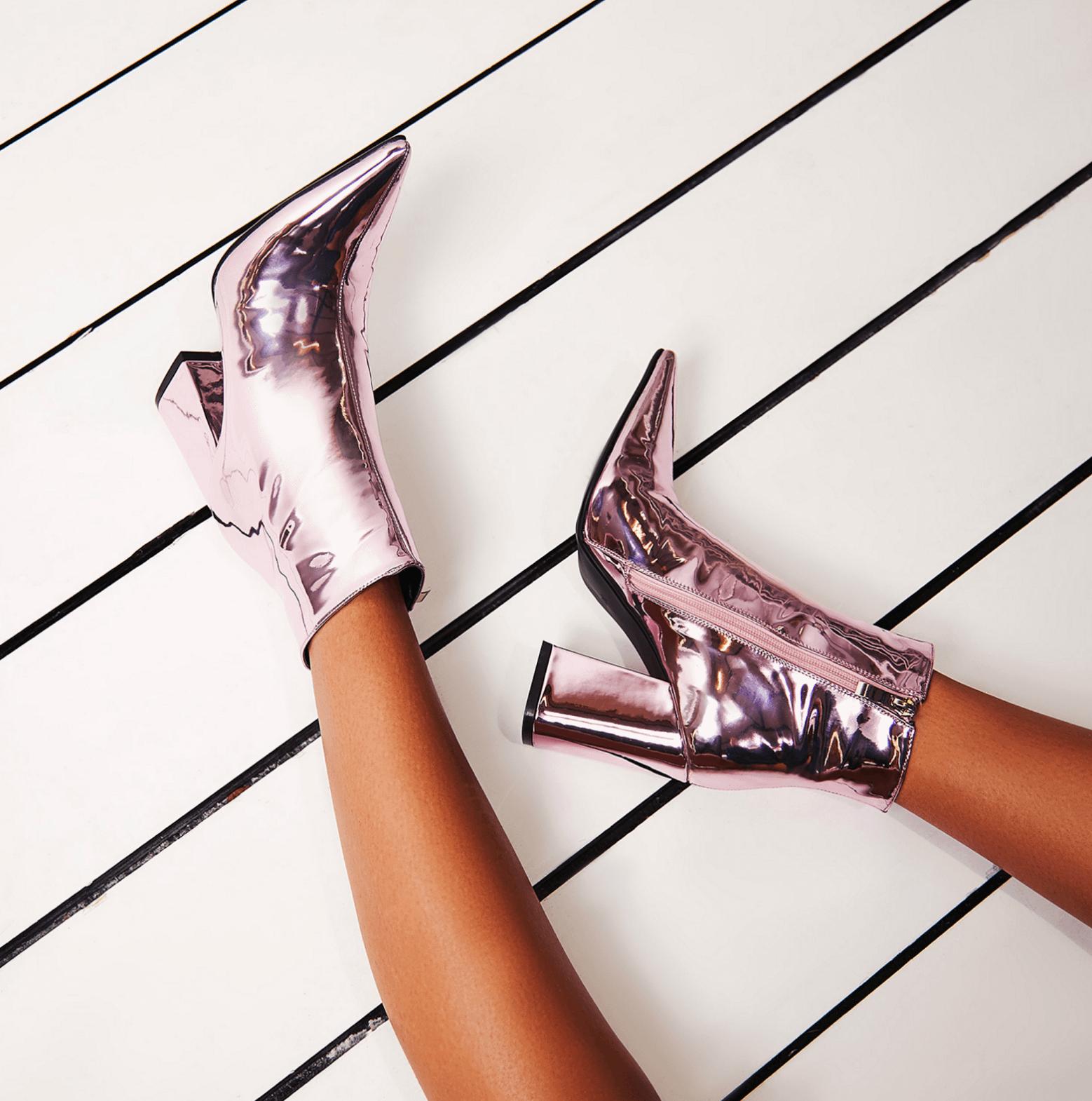 Larna Pink Metallic Pointed Toe Block Heel Boot