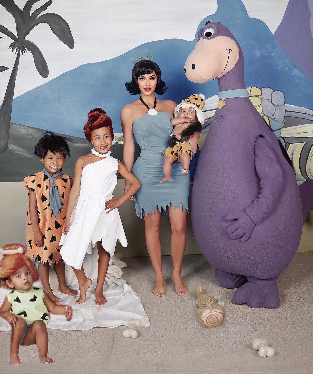 Kardashian West's as The Flintstones