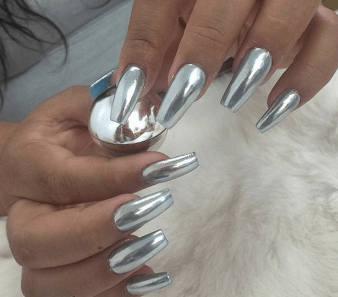 Silver Metallic Chrome Acrylic Nails