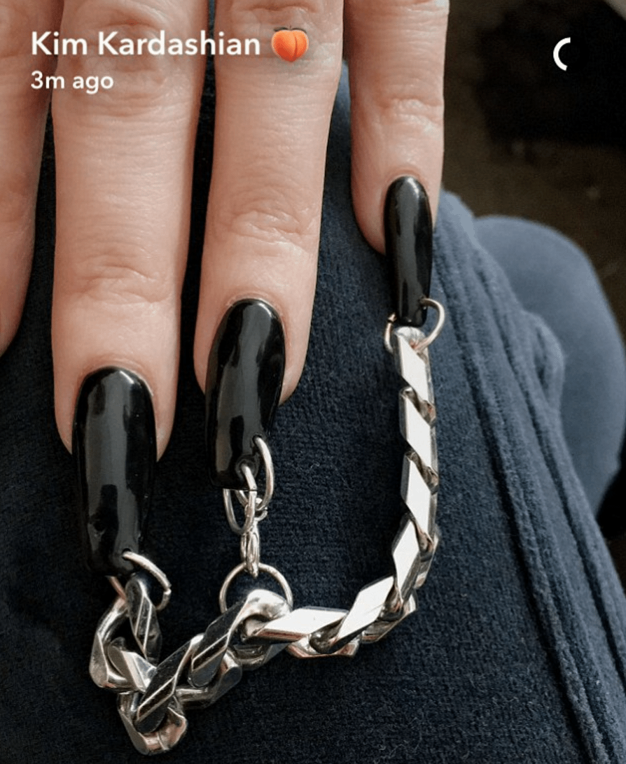 Kim Kardashian Pierced Black Nails