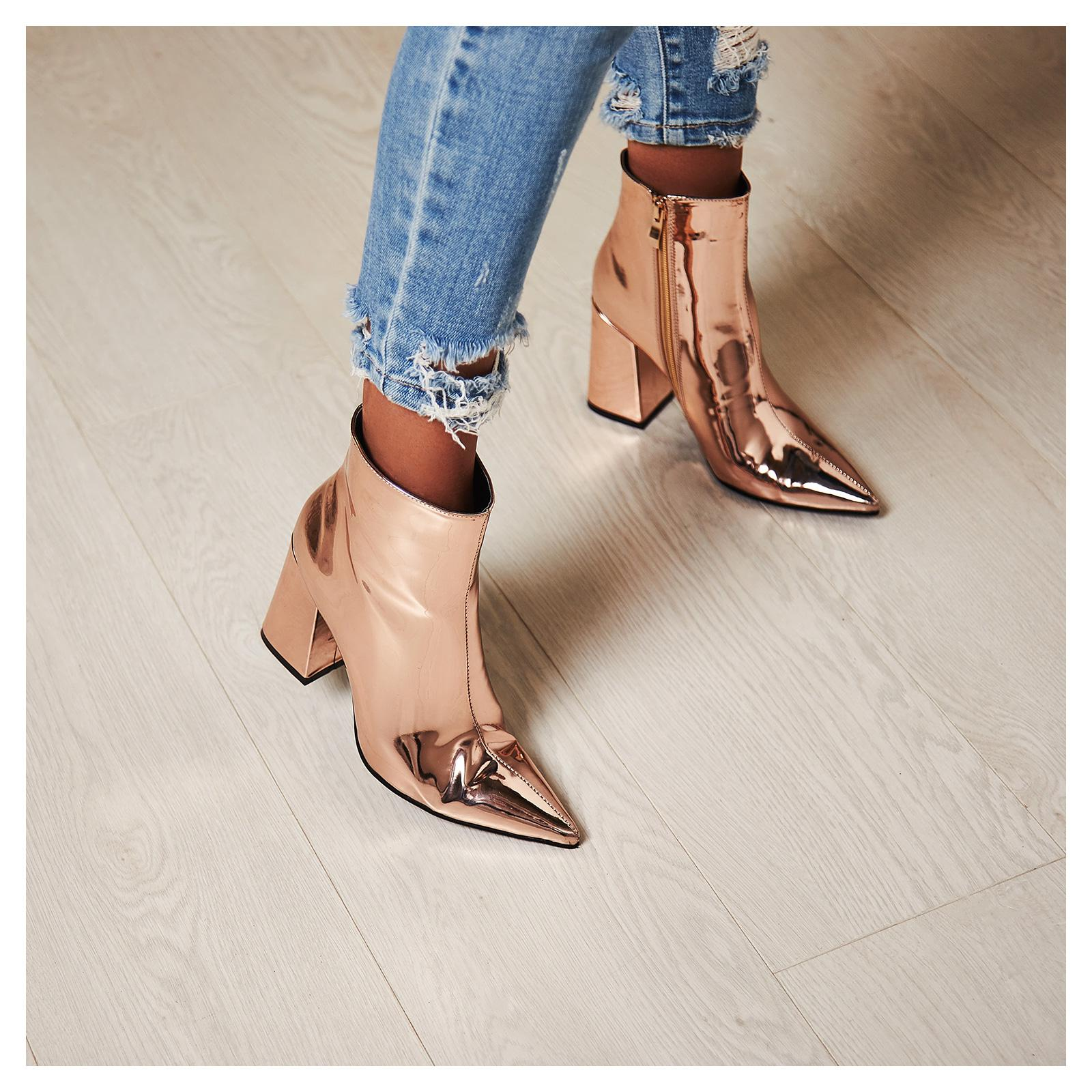Larna Metallic Pointed Toe Block Heel Boot